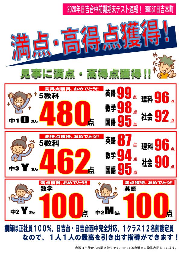 BREST日吉本町2020年日吉台中前期期末テスト結果速報!