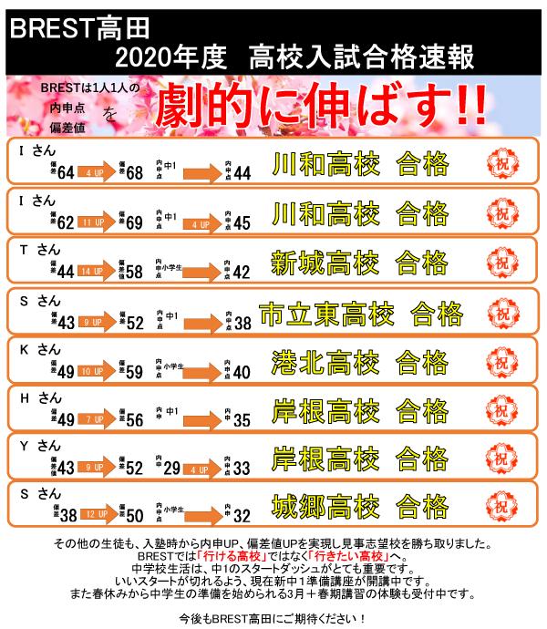 BREST高田2020年度高校入試合格速報!